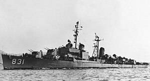 USS Goodrich (DDR-831) underway during the early 1950s (NH 102979)