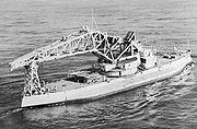 Kearsarge with a large crane on her deck