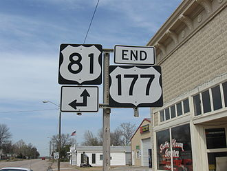 U.S. Route 177 - US-177's northern terminus in South Haven, Kansas