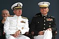 US Navy 040528-N-2383B-107 Chief of Naval Operations, Adm. Vern Clark and Commandant of the Marine Corps, Gen. Michael W. Hagee look on during the U.S. Naval Academy Class of 2004 Graduation and Commissioning Ceremony.jpg