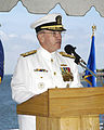 US Navy 040806-N-2468S-001 Commander, U.S. Pacific Fleet, Adm. Walter Doran, addresses the audience during the Seventh Fleet Change of Command ceremony held aboard the Austin Class command ship USS Coronado (AGF 11).jpg