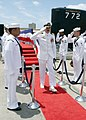 US Navy 060619-N-5539C-002 Capt. Stephen Marr relieved Capt. Michael Zieser as commander, Submarine Squadron One in a change of command ceremony.jpg