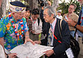 US Navy 061203-N-4774B-002 Pearl Harbor Survivor, retired Capt. Jack Evans shows Akinori Suzuki, of the Japanese news agency Asahi Broadcasting, where he stood during the initial bombings of the attack on Pearl Harbor.jpg