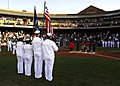 US Navy 070420-N-2903M-007 An honor guard from Navy Operational Support Center Louisville presents the National Colors before the start of a minor league baseball game between the Louisville Bats and Norfolk Tides.jpg