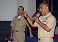 US Navy 070501-N-1082Z-008 Master Chief Petty Officer of the Navy (MCPON) Joe R. Campa Jr. speaks to Sailors at one of two all hands calls in the base theater.jpg