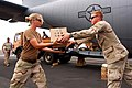 US Navy 090424-N-1057H-498 Seabees assigned to Naval Mobile Construction Battalion (NMCB) 11, Detachment Horn of Africa offload supplies from an Air Force C-130 Hercules cargo plane.jpg