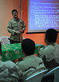 US Navy 090930-N-7088A-023 Navy Diver 1st Class Joe Davis, assigned to Mobile Diving and Salvage Unit (MDSU) 1, teaches a class on diving related casualty care to Iraqi navy members at the Iraqi navy school.jpg