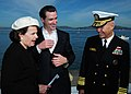 US Navy 101009-N-3570S-299 Vice Adm. Richard W. Hunt, commander of U.S. 3rd Fleet speaks with U.S. Senator Dianne Feinstein and San Francisco Mayor.jpg