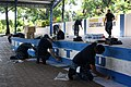 US Navy 110831-N-ZI300-064 Sailors assigned to the guided-missile frigate USS Thach (FFG 43) paint the stage and pavilion at the Cristobal Aleman B.jpg