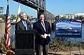 US Navy 111005-N-ZZ999-135 ecretary of the Navy (SECNAV) the Honorable Ray Mabus, left, and the Mayor of Little Rock Mark Stodola speak during the.jpg