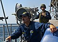 US Navy 120214-N-VY256-102 Chief Fire Controlman Timothy Camacho stands watch aboard the Ticonderoga-class guided-missile cruiser USS Cape St. Geor.jpg