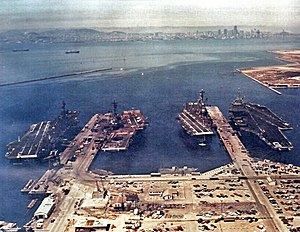 Naval Air Station Alameda - Carriers ''Coral Sea'', ''Hancock'', ''Oriskany'' and ''Enterprise'' at Alameda, in 1974.