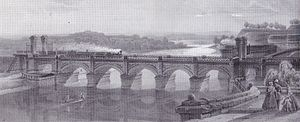 Bavarian Maximilian Railway - Danube bridge between Ulm und Neu-Ulm in 1855
