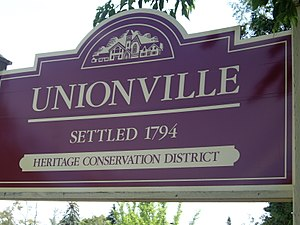Main Street Unionville - Unionville's Welcome Sign found near the street's intersection with Fred Varley Drive.