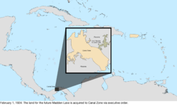 Map of the change to the United States in the Caribbean Sea on February 1, 1924