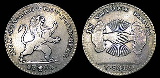 Brabant Revolution coinage - Image: United States of Belgium Silver 10 Sols