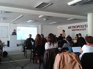 Metropolitan University (Belgrade) - Rector speaking in a conference