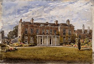 Upton House, Newham - Upton House, West Ham; birthplace of Joseph Lister. Watercolour partly after a photograph, partly after a sketch by Mary Lister, 1920/1940