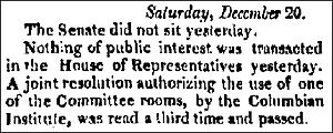 Columbian Institute for the Promotion of Arts and Sciences - Congress grants use of Capitol committee rooms - The Torch Light And Public Advertiser, Hagerstown, Maryland, December 25, 1828