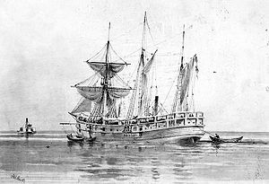 Artwork of the USS Norwich made during the American Civil War by Xanthus Smith.