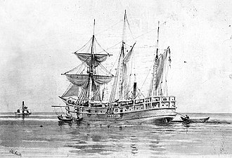 USS Norwich (1861) - Artwork of the USS Norwich made during the Civil War by Xanthus Smith.