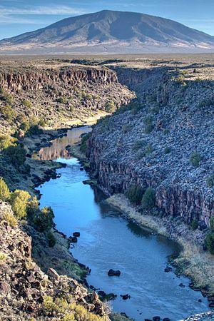 Rio Grande del Norte National Monument - Ute Mountain (10, 093 ft)  and the upper Rio Grande gorge