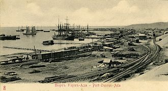 Trans-Caspian railway - Uzun-Ada port and railway station