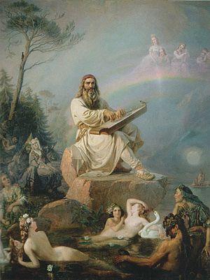 Art in Finland - Robert Wilhelm Ekman, Väinämöisen soitto, 1866.