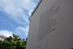 Peter Biľak - Poem by M. Vasalis on a wall in The Hague. Typeface Lava by Peter Biľak