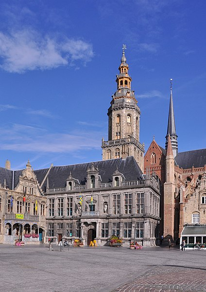 Veurne (Belgium): the Landhuis and the belfry