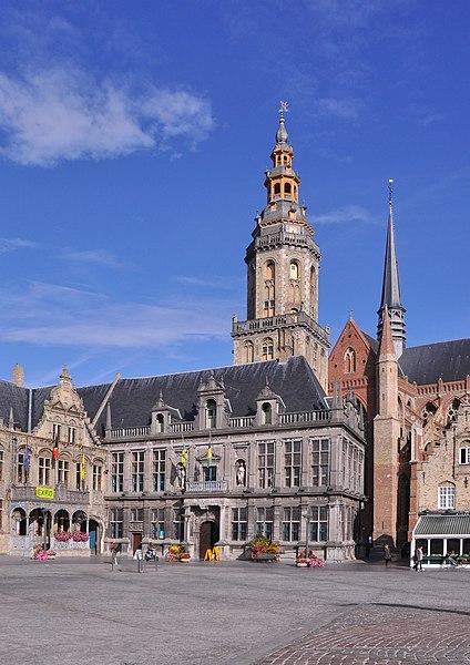 Veurne (Belgium): the Landhuis and the belfry