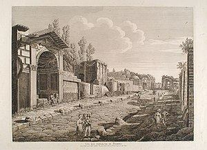 The Last Day of Pompeii - Image: Via dei Sepolcri in Pompei, Luigi Rossini, Rome, 1830
