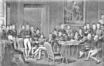 Metternich alongside Wellington, Talleyrand and other European diplomats at the Congress of Vienna, 1815 Vienna Congress.jpg