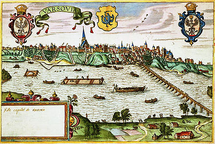 Vistula river in Warsaw near the end of the 16th century. The right side shows the Sigismund Augustus bridge built 1568-1573 by Erazm Cziotko (c. 500 m (1,600 ft) long). View of Warsaw near the end of the 16th century.jpg