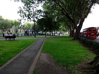 Ducketts Common - Image: View towards outdoor gym and basketball courts