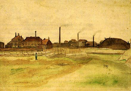 Le village de Cuesmes peint par Vincent van Gogh en 1879.