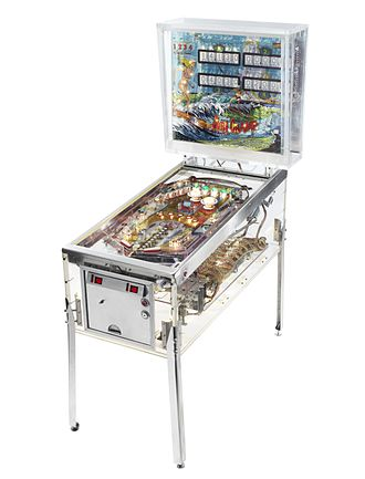 Pacific Pinball Museum - The visible pinball machine, co-created by museum owner Michael Schiess based on the pinball machine Surf Champ by Gottlieb from 1976