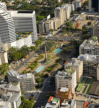 Altamira, Caracas - Aerial view of the Plaza Francia and its surroundings, which compose the Altamira zone of Caracas.