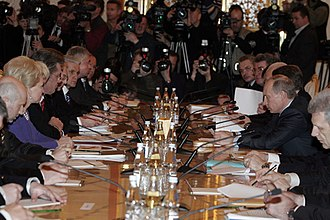 Russia–Ukraine gas disputes - Then President of Russia Vladimir Putin and President of Ukraine Viktor Yushchenko at a meeting of the Russian–Ukrainian Intergovernmental Commission at the Kremlin on 12 February 2008, at which the gas dispute was discussed.