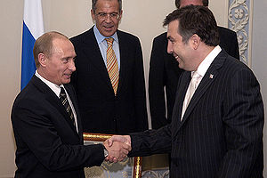 Georgia–Russia relations - Vladimir Putin with Mikheil Saakashvili in 2006