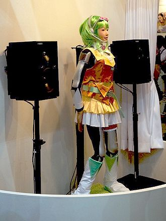 Vocaloid - HRP-4C cosplaying as Gumi, a mascot of Megpoid, at CEATEC JAPAN 2009