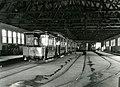 Vognhallen på Dalsenget med ombygd hestesporvogn fra Kristiania (ca. 1925) (4203030550).jpg