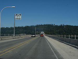 Washington State Route 104 - SR 104 westbound on the Hood Canal Bridge, traveling towards the Olympic Peninsula