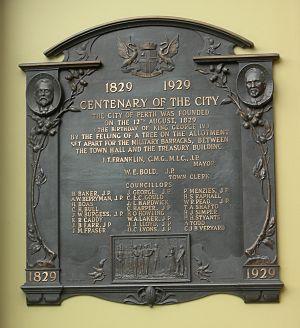 Centenary of Western Australia - Perth Town Hall Centenary plaque
