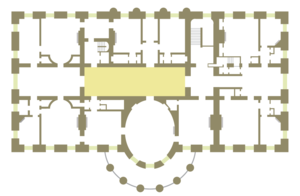 Second Floor Center Hall (White House) - Floor plan of the White House second floor showing location of the Center Hall.