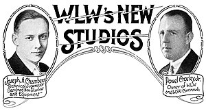 WLW - Heading for a feature story about WLW's new studios, incorporating photographs of Joseph A. Chambers, technical supervisor and designer of the new facilities, and Powel Crosley, Jr., owner of WLW and WSAI (1930)