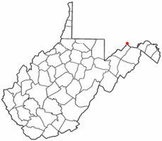 Location of Ridgeley, West Virginia