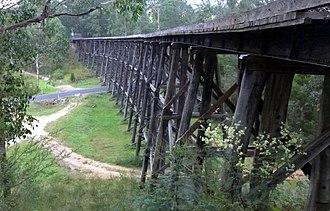 East Gippsland Rail Trail - The Wairewa Rd trestle bridge.