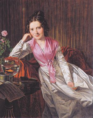 Goldfish in a glass: portrait of Therese Krones, 1824 Waldmuller - Die Schauspielerin Theres Krones.jpeg