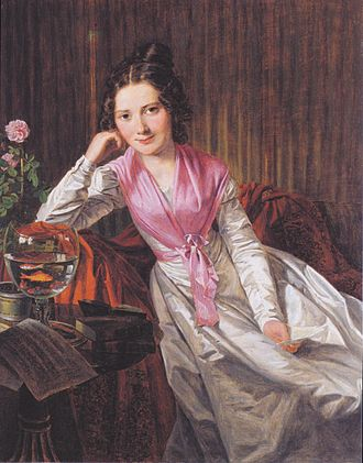 Aquarium - Goldfish in a glass: portrait of Therese Krones, 1824
